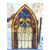 G17069A - Antique Arched Top Gothic Stained Glass Window