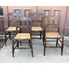 F18024 - Antique Set of Four Painted and Stenciled Cane Bottom Chairs