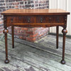 F18032 - Antique Bookmatched Walnut Revival Period Vanity Table