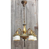 607863 - Antique Five Arm Ceiling Light Fixture with Steuben Art Glass Shades