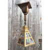 L10786 - Antique Arts and Crafts Ceiling Light Fixture with Stained Glass