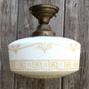 L11278 - Antique Neoclassical Flush Mount Light Fixture with Milk Glass Globe