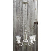 L15245 - Antique Art Moderne Silver Plated Five Arm Hanging Fixture