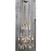 L16186 - Vintage Brass Crystal and Marble Eight Light Chandelier