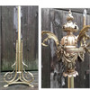 L17005 - Antique Beaux Arts Style Three Arm Cast Brass Candelabra Torchiere