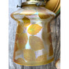 L17016 - Pair of Antique Wall Sconces with Amber Iridescent Shades