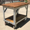 F17055 - Vintage Mid Century Industrial Cart with Butcher Block Top