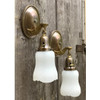L17128 - Pair of Antique Brass Sconces with Antique Etched Glass Shades