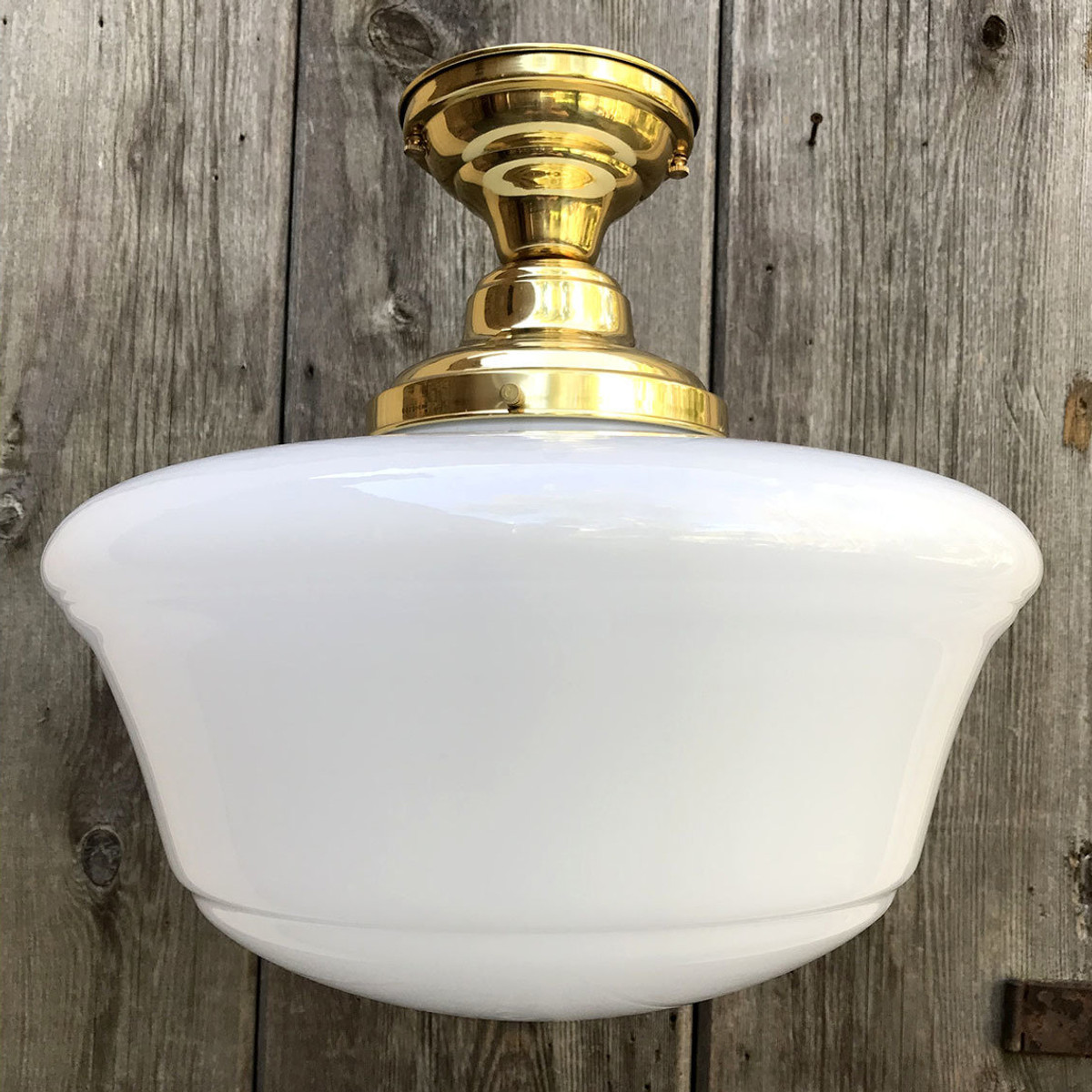 L17210 - Antique Schoolhouse Shade on Brass Flush Mount Fixture