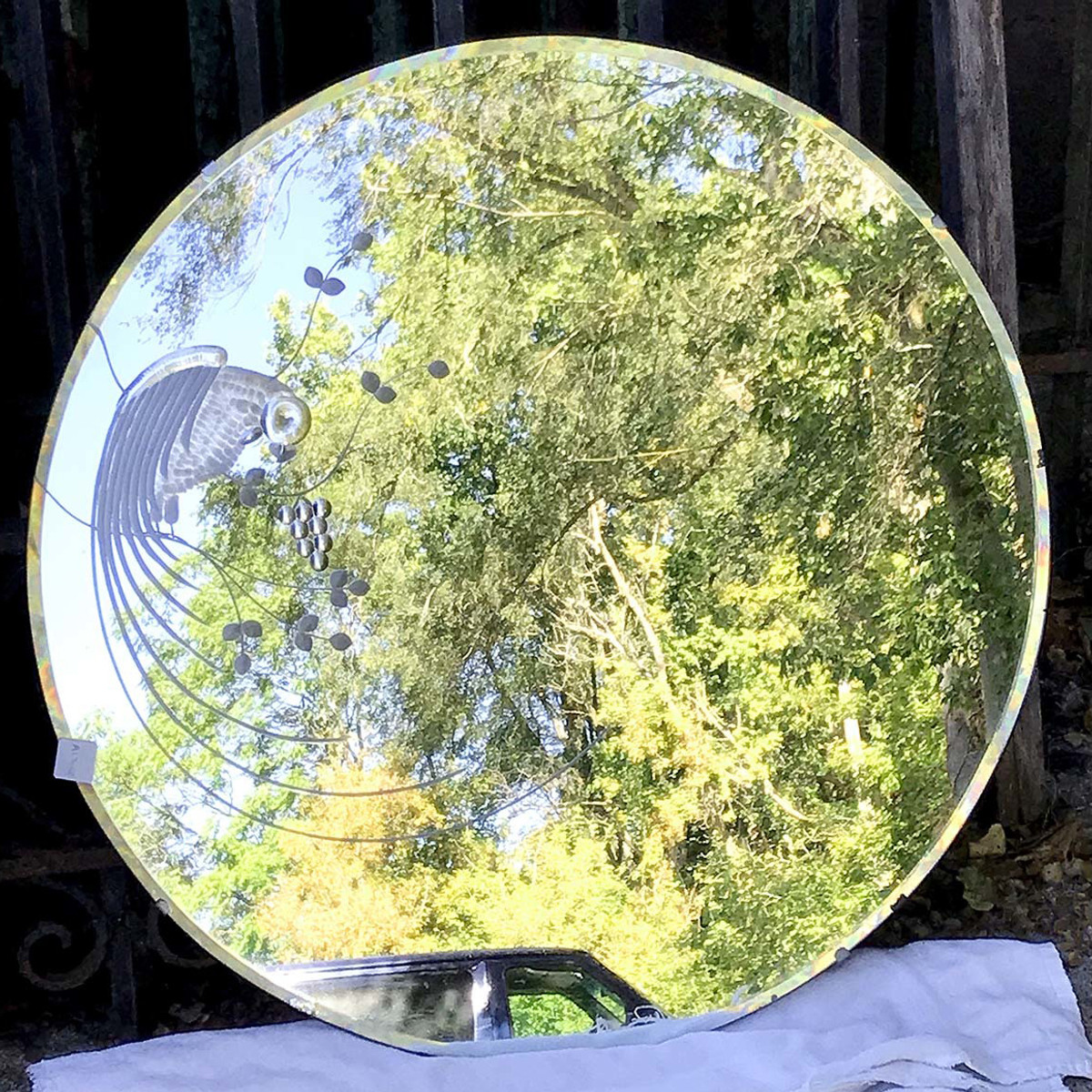 A17075 - Antique Art Deco Round Beveled and Wheelcut Mirror