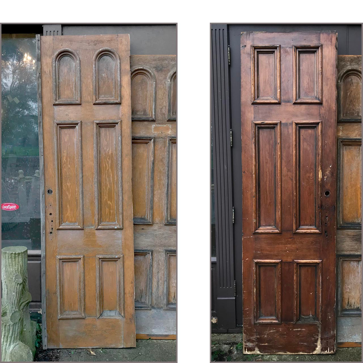 "D17153 - Single Antique Victorian Pine Six Panel Church Door 28"" x 95-1/4"""