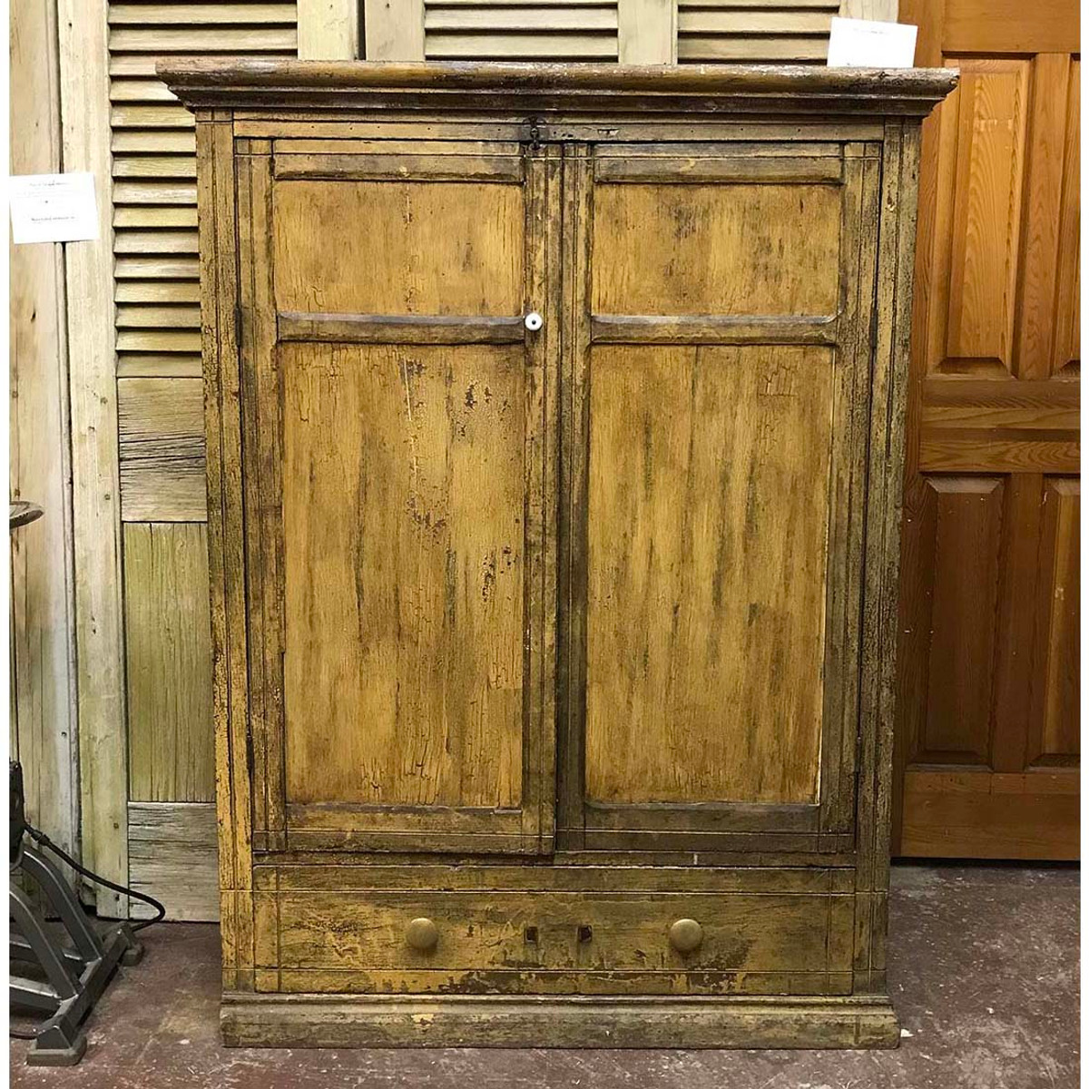 F17114 - Antique Victorian Painted Pine Blind Cabinet
