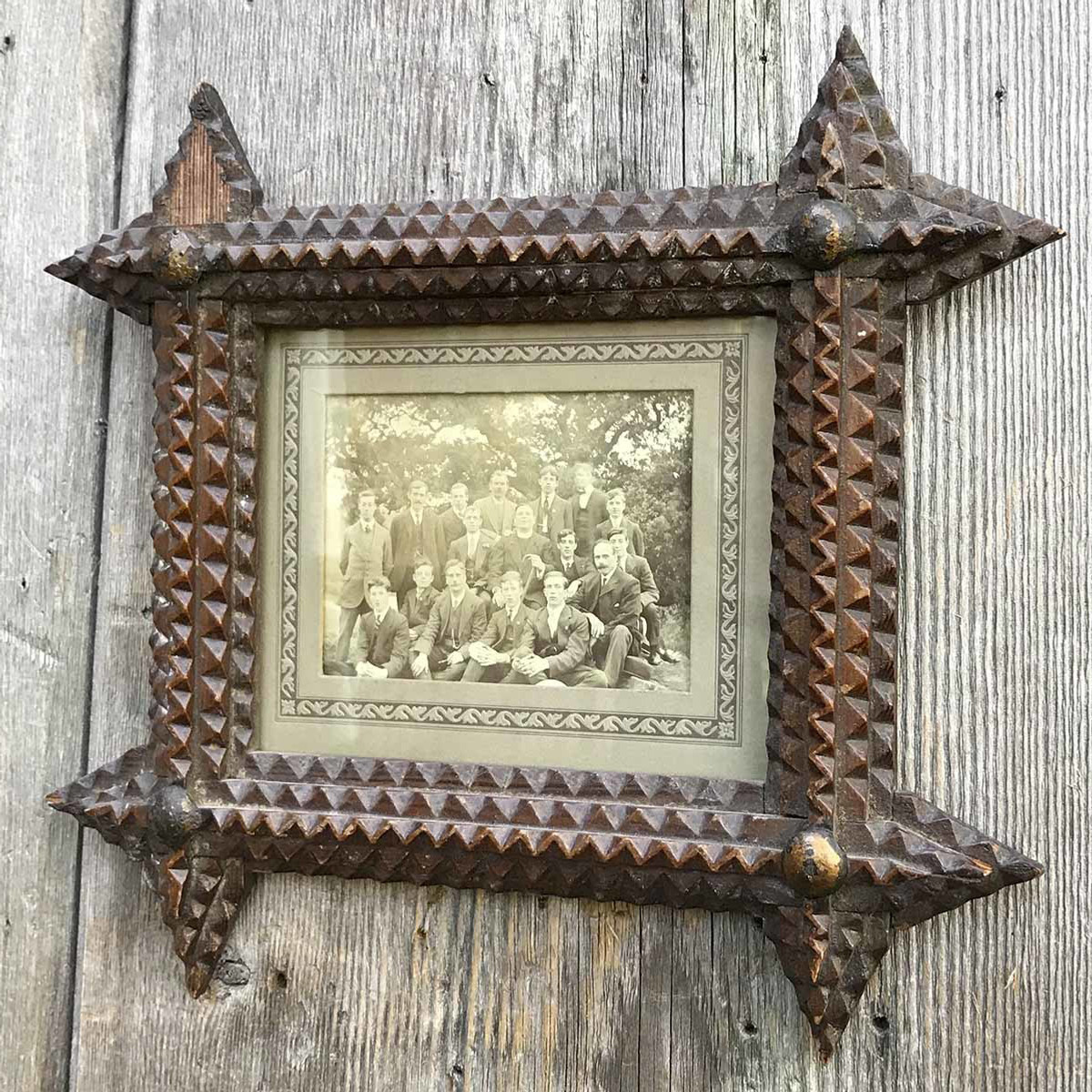 A17105 - Antique Photograph in Tramp Art Frame