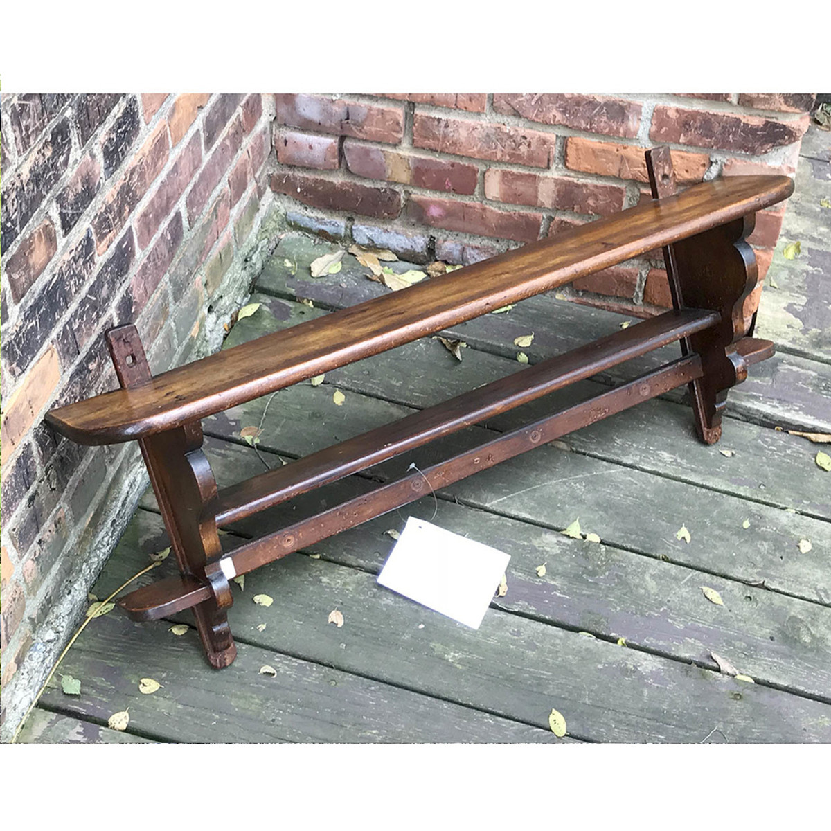 A17106 - Antique Late Victorian Two Tiered Wall Hung Shelf