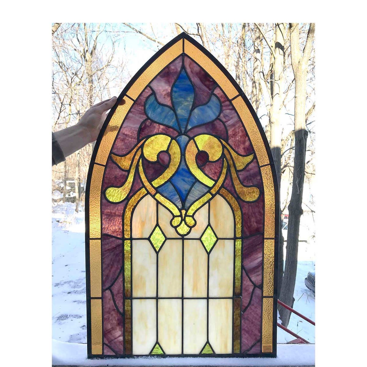 G17069B - Antique Arched Top Gothic Stained Glass Window