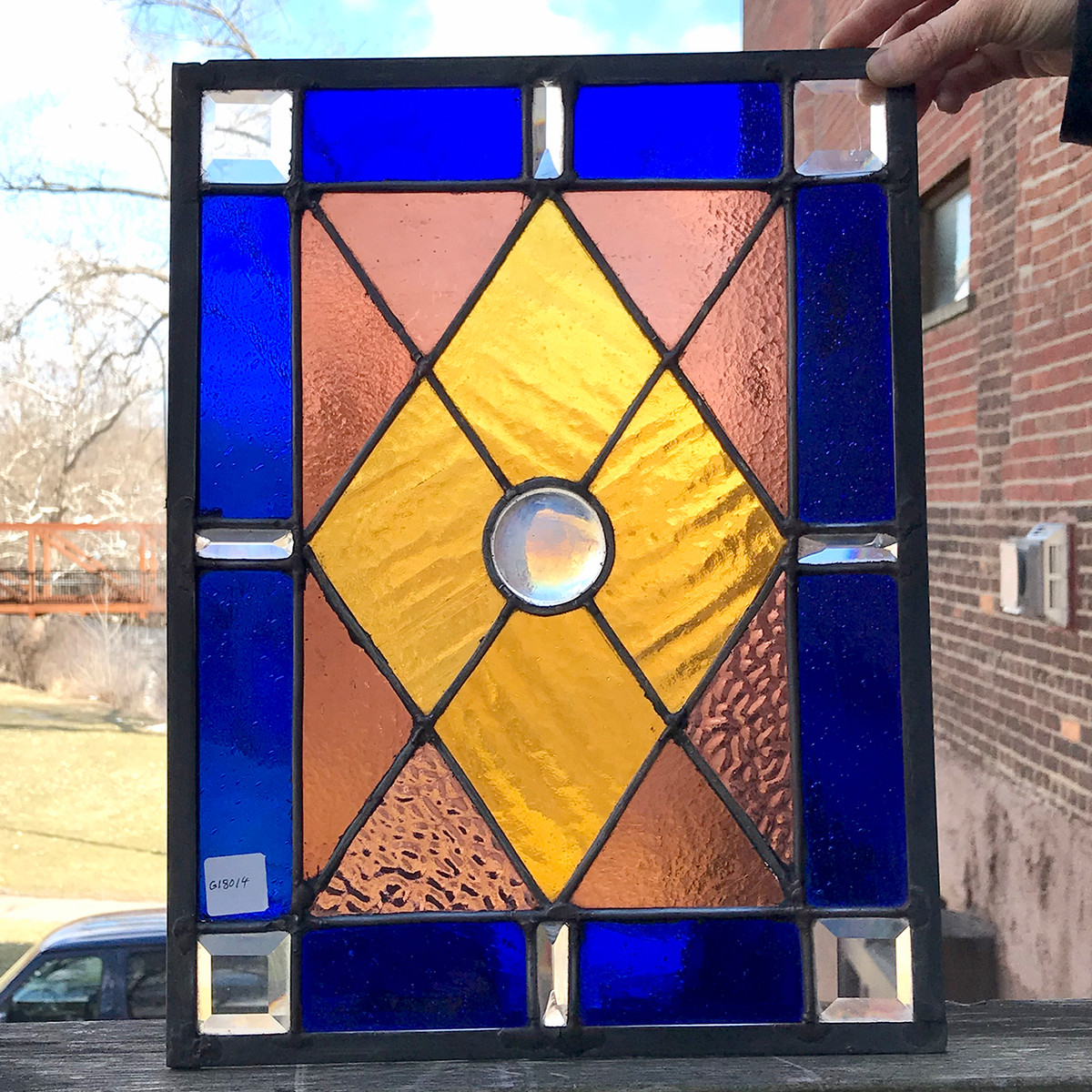 G18014 - Custom Stained and Beveled Glass Window