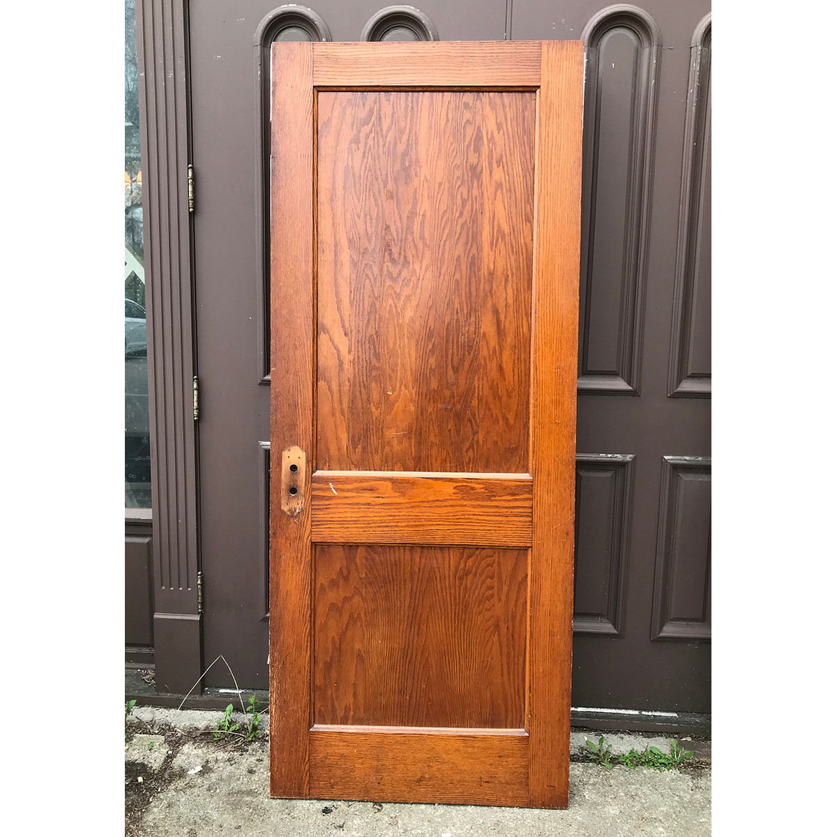 "D18067 - Antique Oak Traditional Two Flat Panel Interior Door 32"" x 79-1/4"""