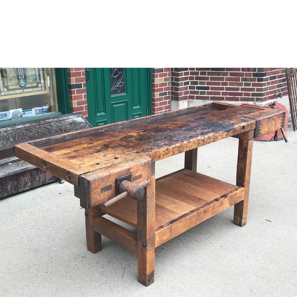 F18038 - Antique Maple Industrial Style Carpenters Workbench