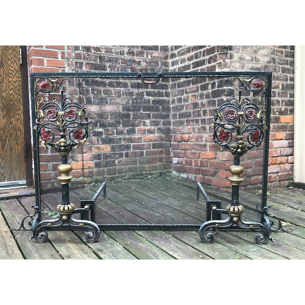 M18007 - Antique Fireplace Screen With Pair of Andirons