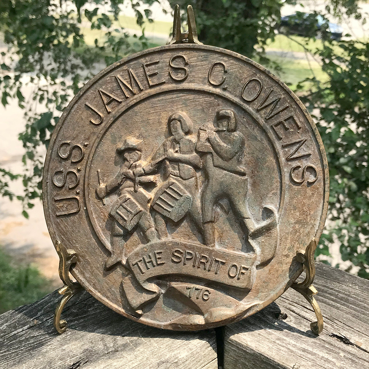 "A18115 - Antique Cast Bronze Plaque ""USS James C. Owens"""