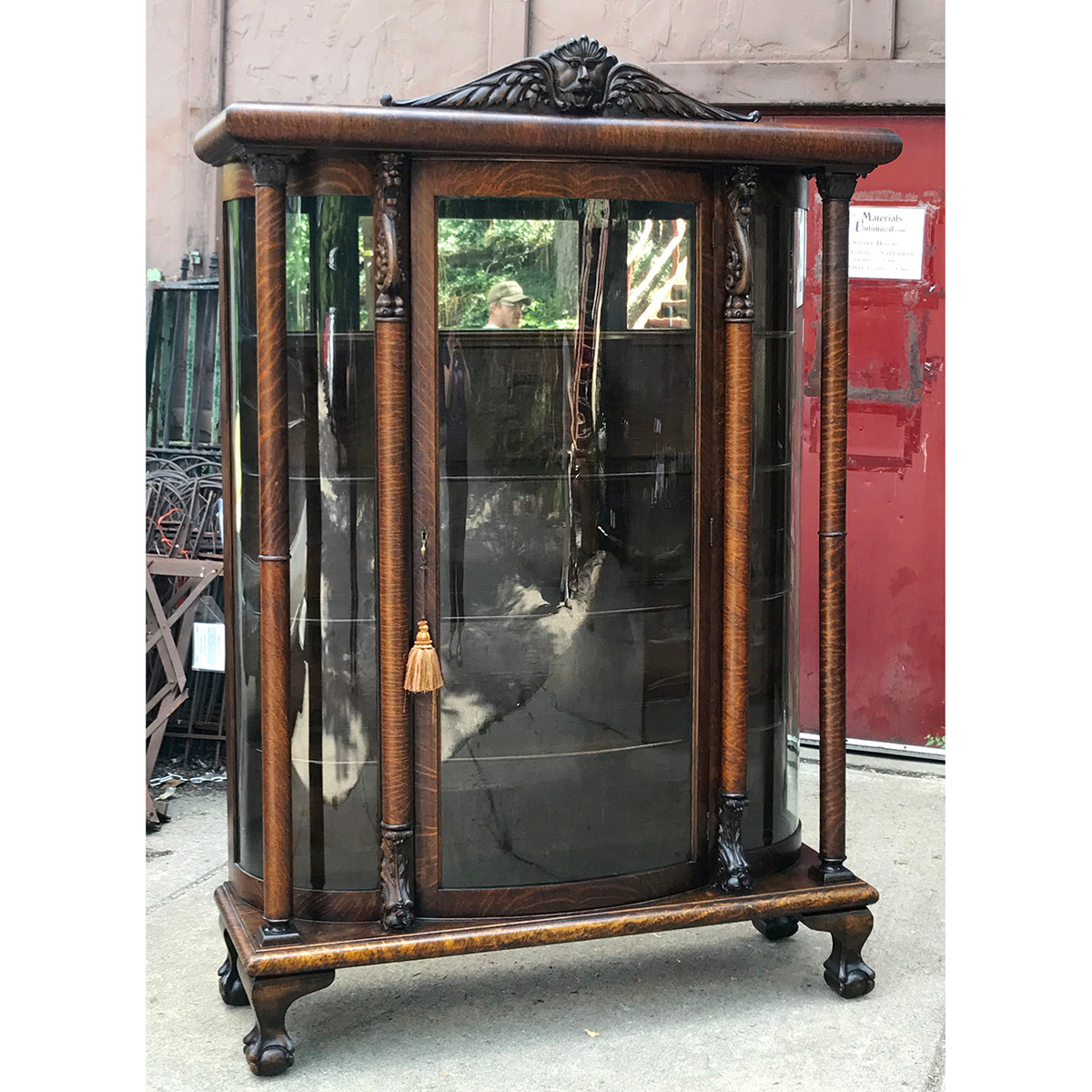 F18089 - Antique Quartersawn Oak Late Victorian Bow Front China Cabinet