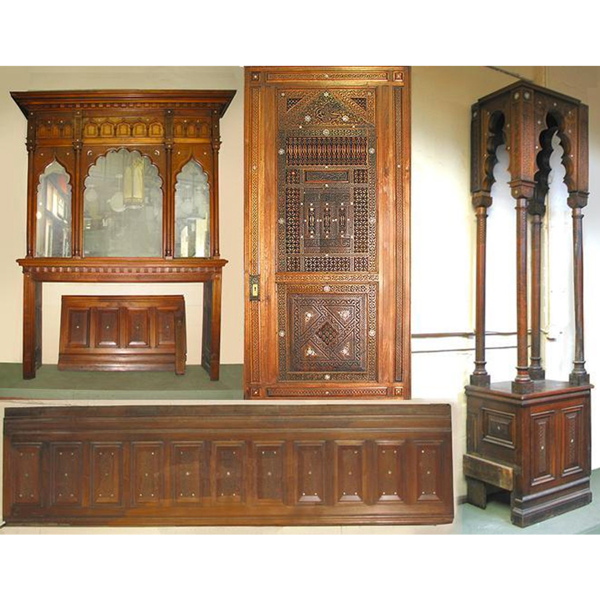 700998 - Antique Moorish Room with Full Mantel, Pocket Doors, Corner Display and more