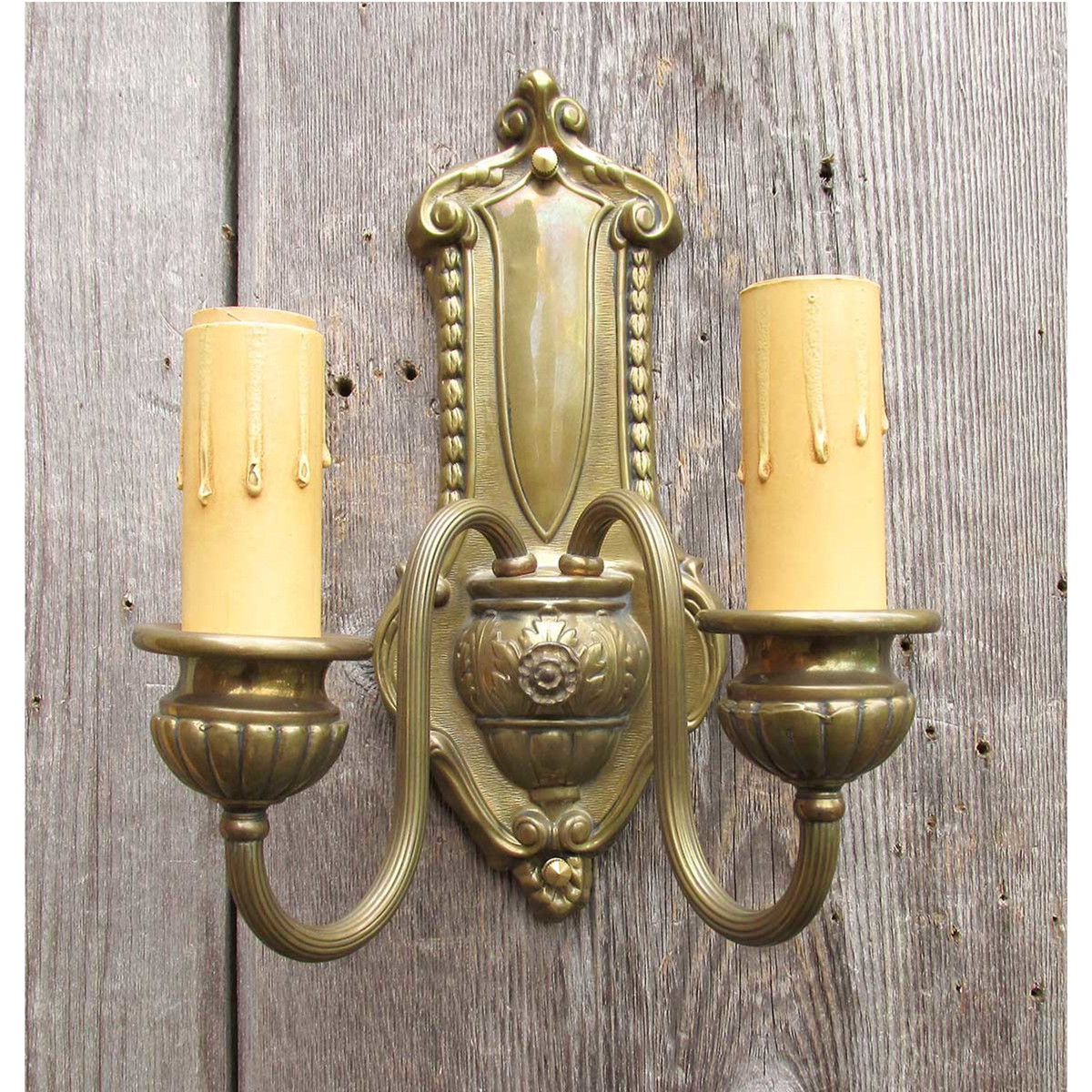 606874 - Antique Neoclassical Double Candle Arm Wall Sconce