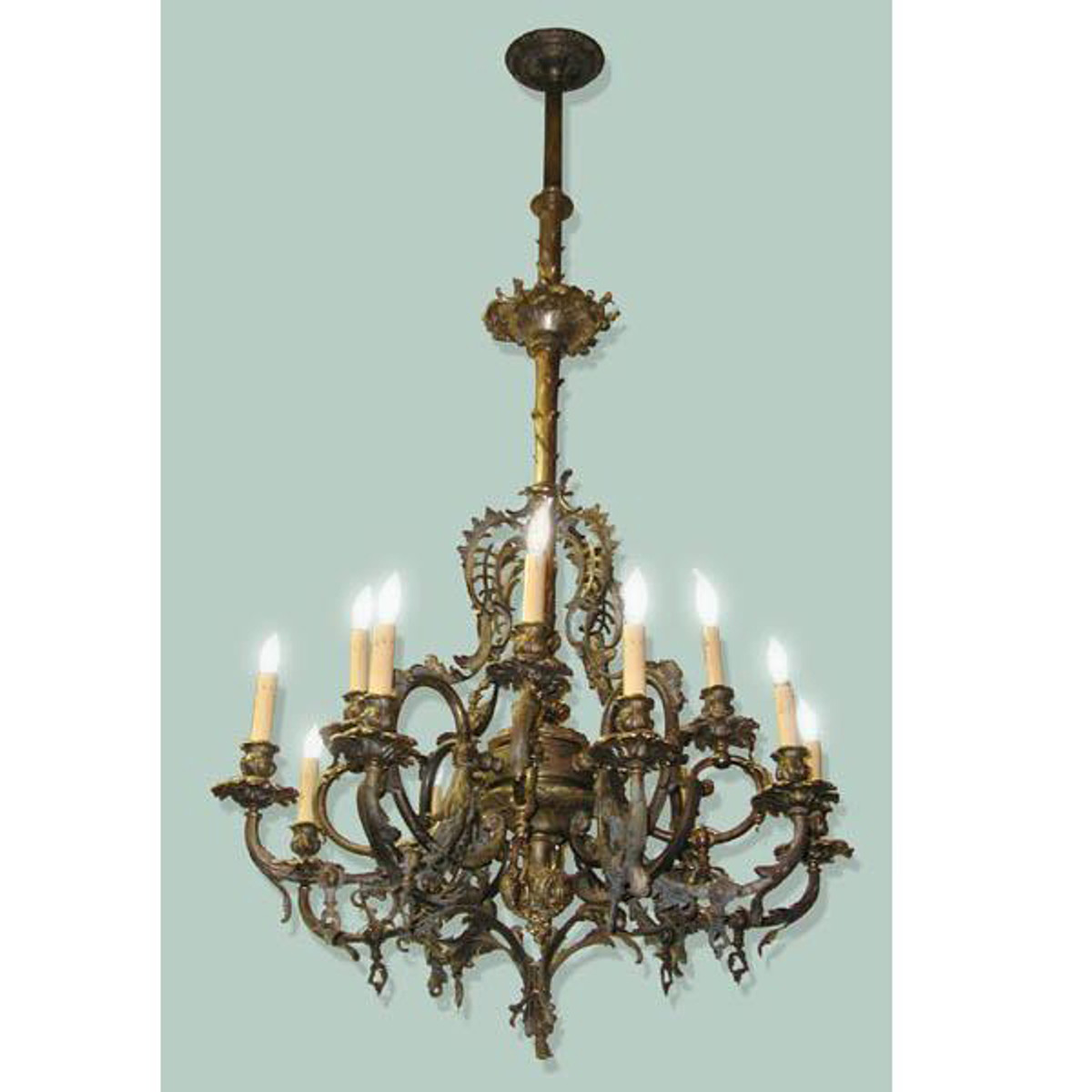 608047 - Antique Louis XV Style Twelve Arm Ceiling Light Fixture