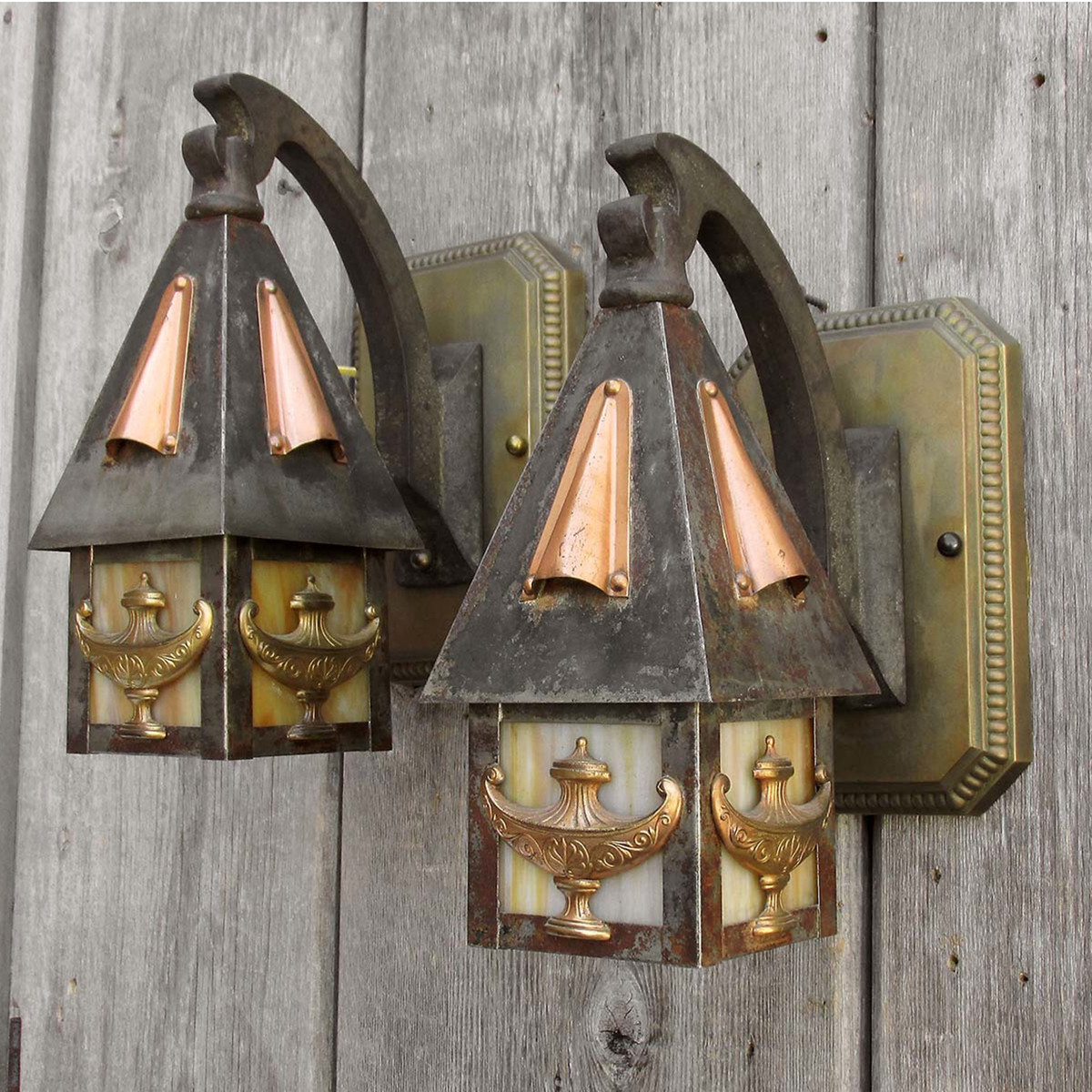 608423 - Pair of Antique Exterior Wall Sconces made by Bradley & Hubbard