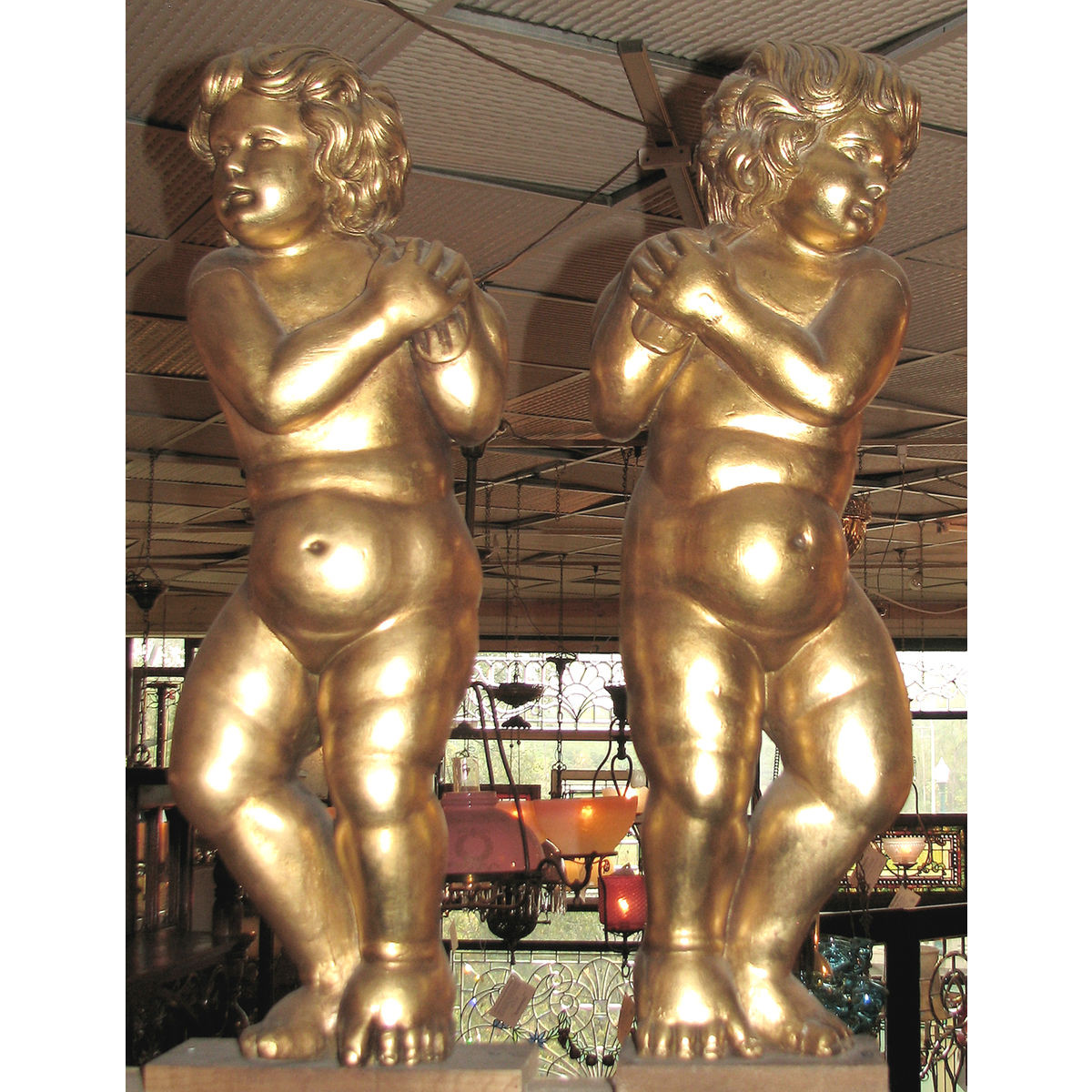 805268 - Pair of Carved Gilded Neoclassical Putti