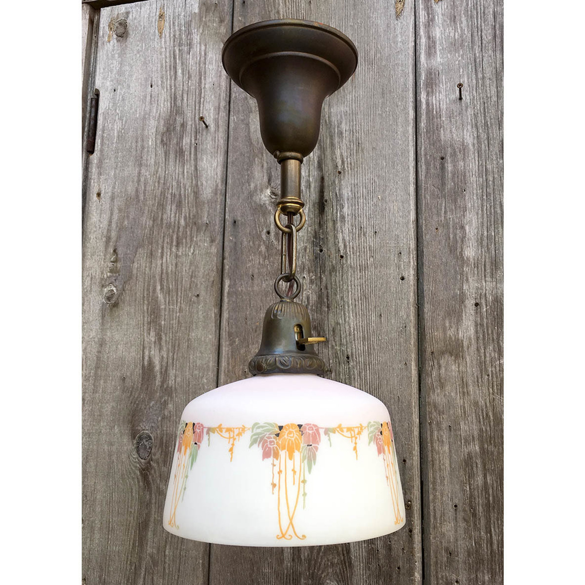 L11076 - Antique Brass Fixture With An Art Nouveau Style Shade