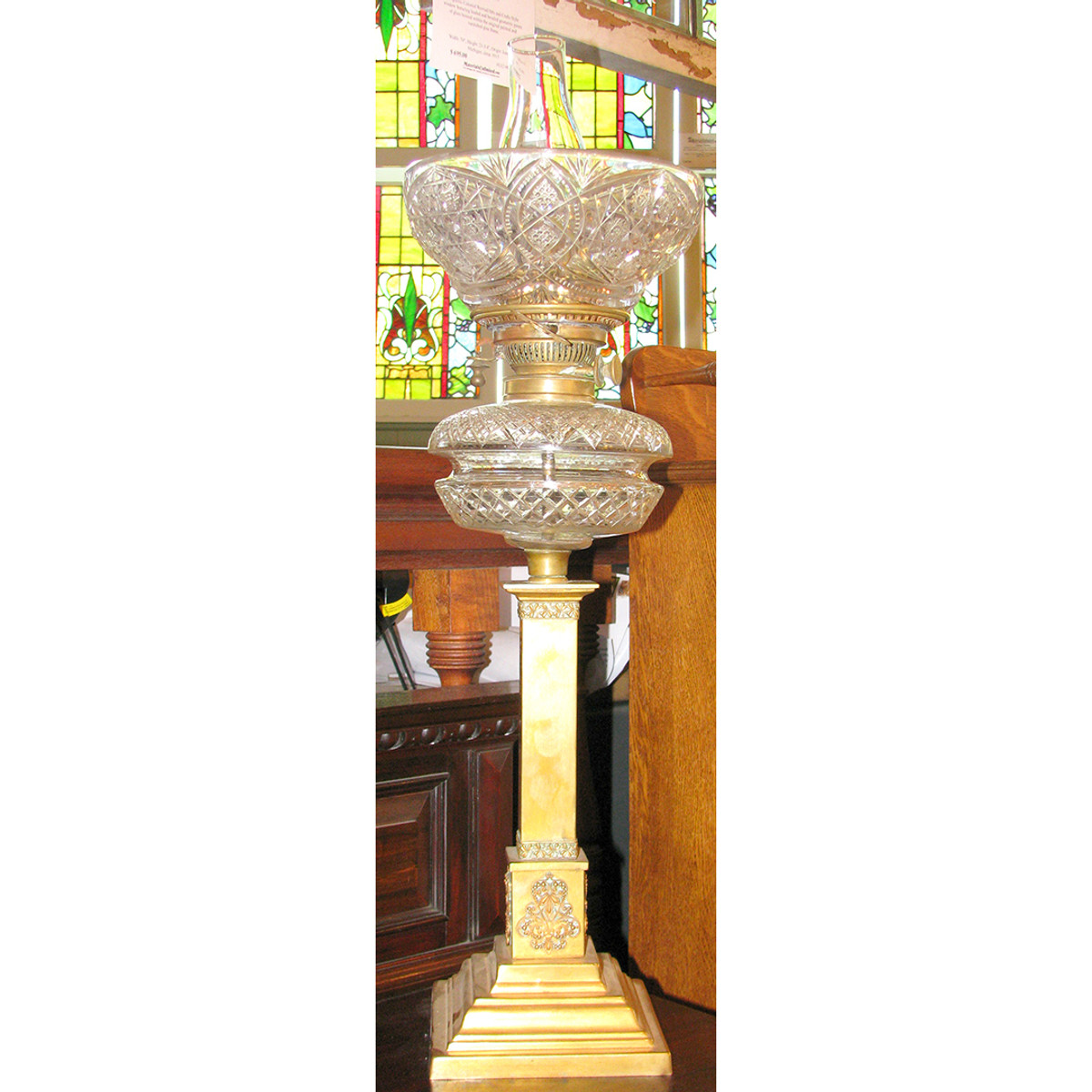 "L11238 - Antique Victorian ""Kerosene"" Table Lamp"