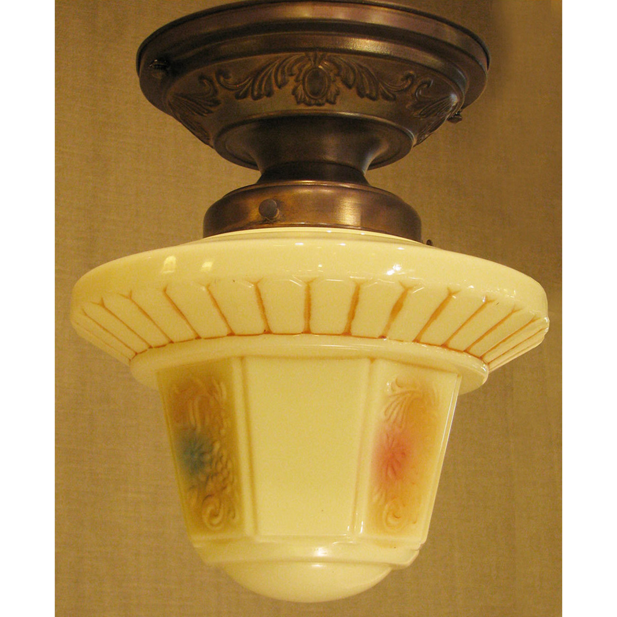 L11327 - Antique Flush Mount Light Fixture with Vaseline Glass