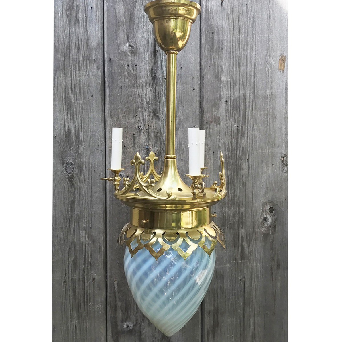 L12044 - Antique Gothic Revival Gas and Electric Ceiling Light Fixture