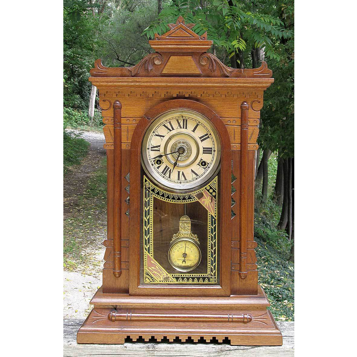 A13150 - Antique Renaissance Revival Walnut Shelf Clock