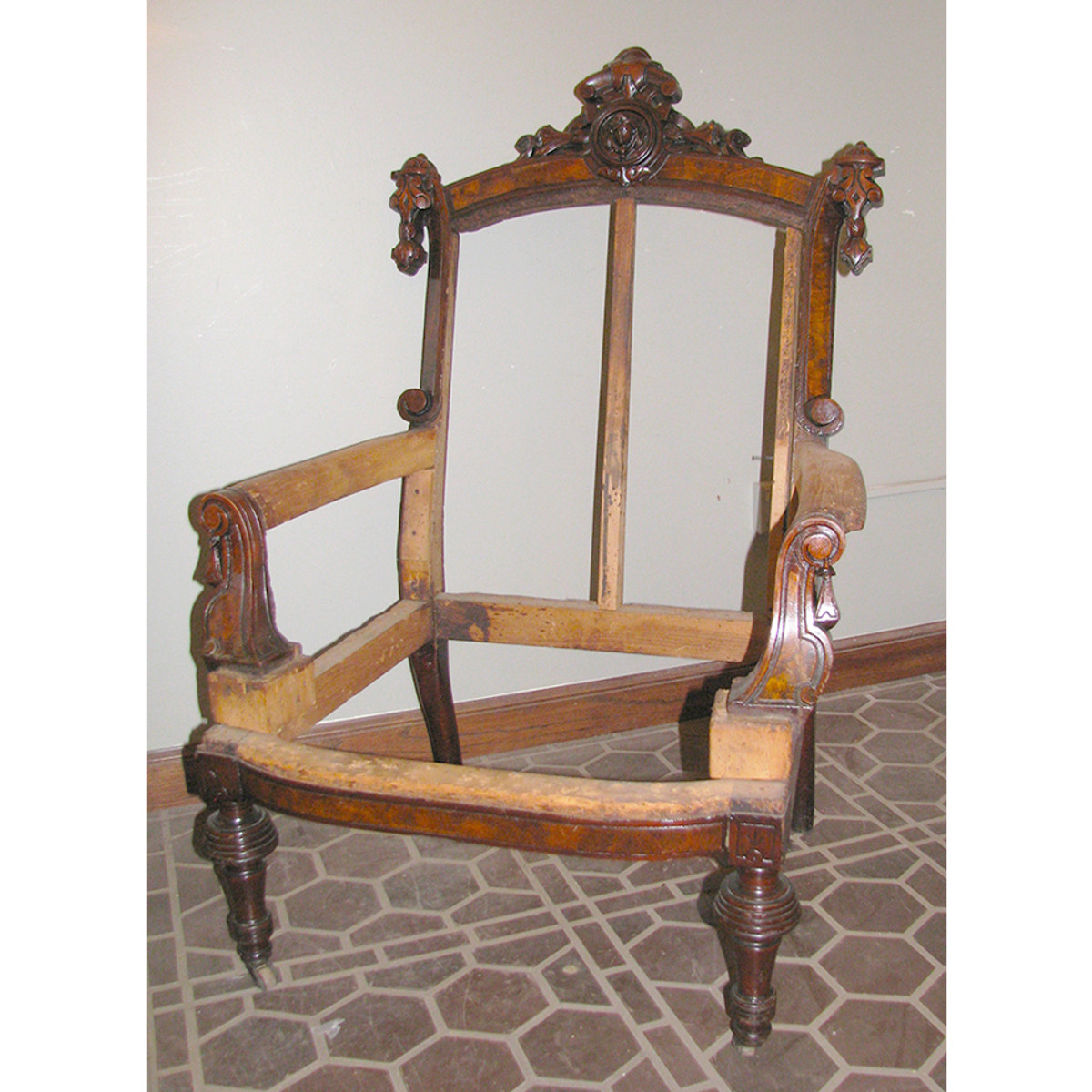 F13159 - Antique Neo-Grec Walnut Lady's Armchair