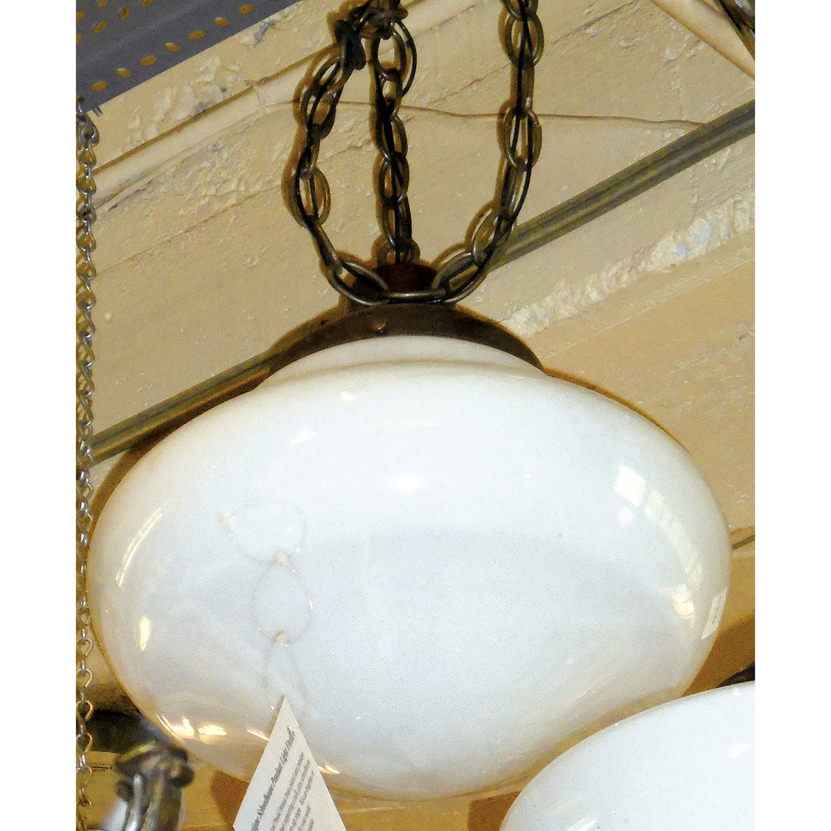 L13296 - Antique Revival Period Schoolhouse Pendant Light Fixture - Unrestored