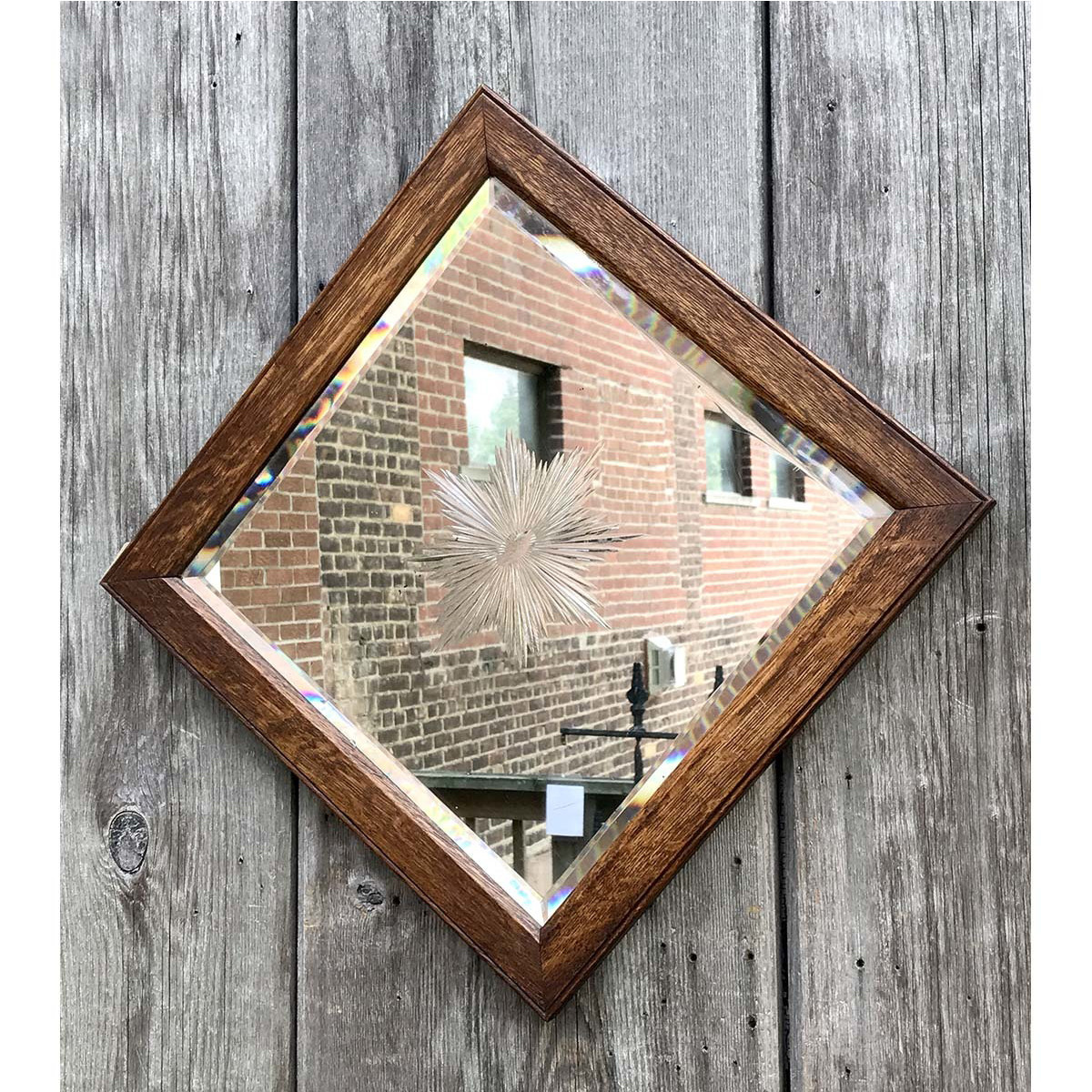 A14012 - Antique Colonial Revival Oak Wheelcut Mirror