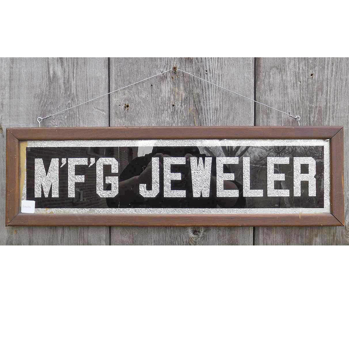 """A14044 - Antique Early Century Trade Sign """"MFG Jeweler"""""""