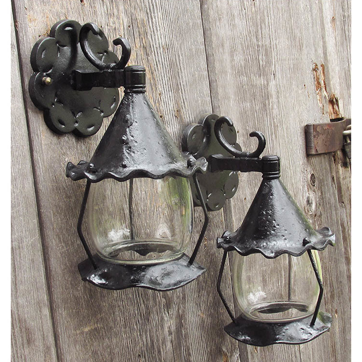 L15134 - Pair of Exterior Tudor Style Lantern Sconces