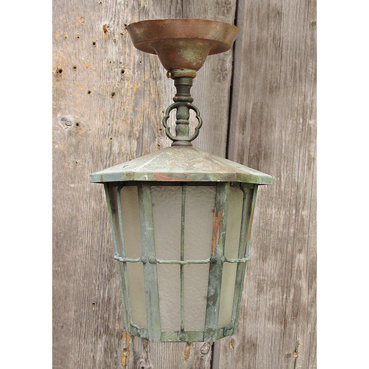 L15141 - Antique Copper & Brass Lantern with Etched Glass Panels
