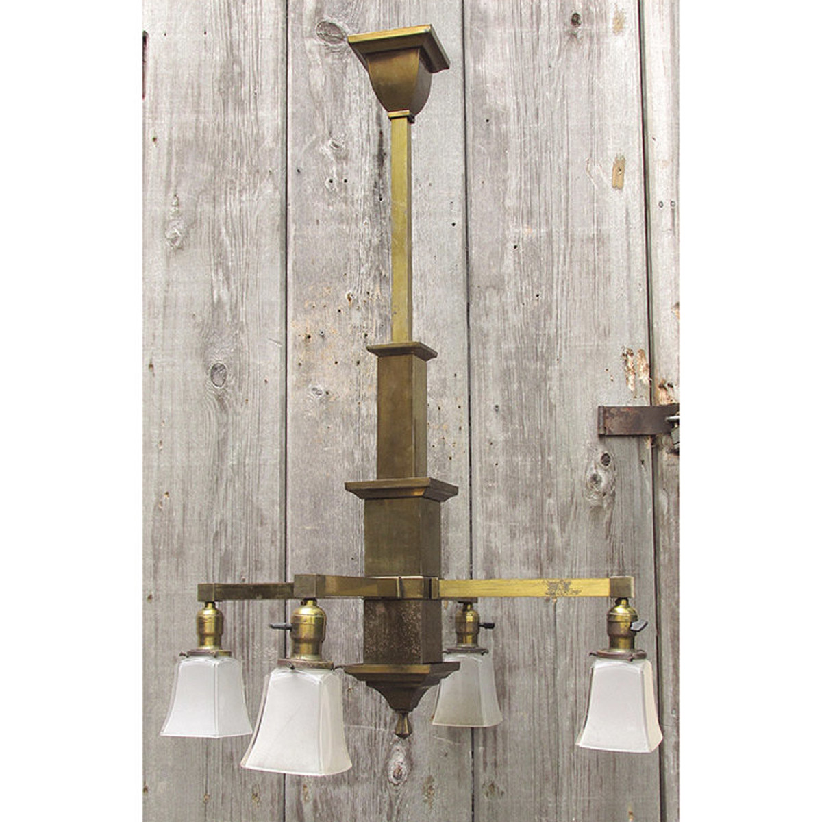 L15165 - Antique Arts and Crafts Four Arm Hanging Fixture