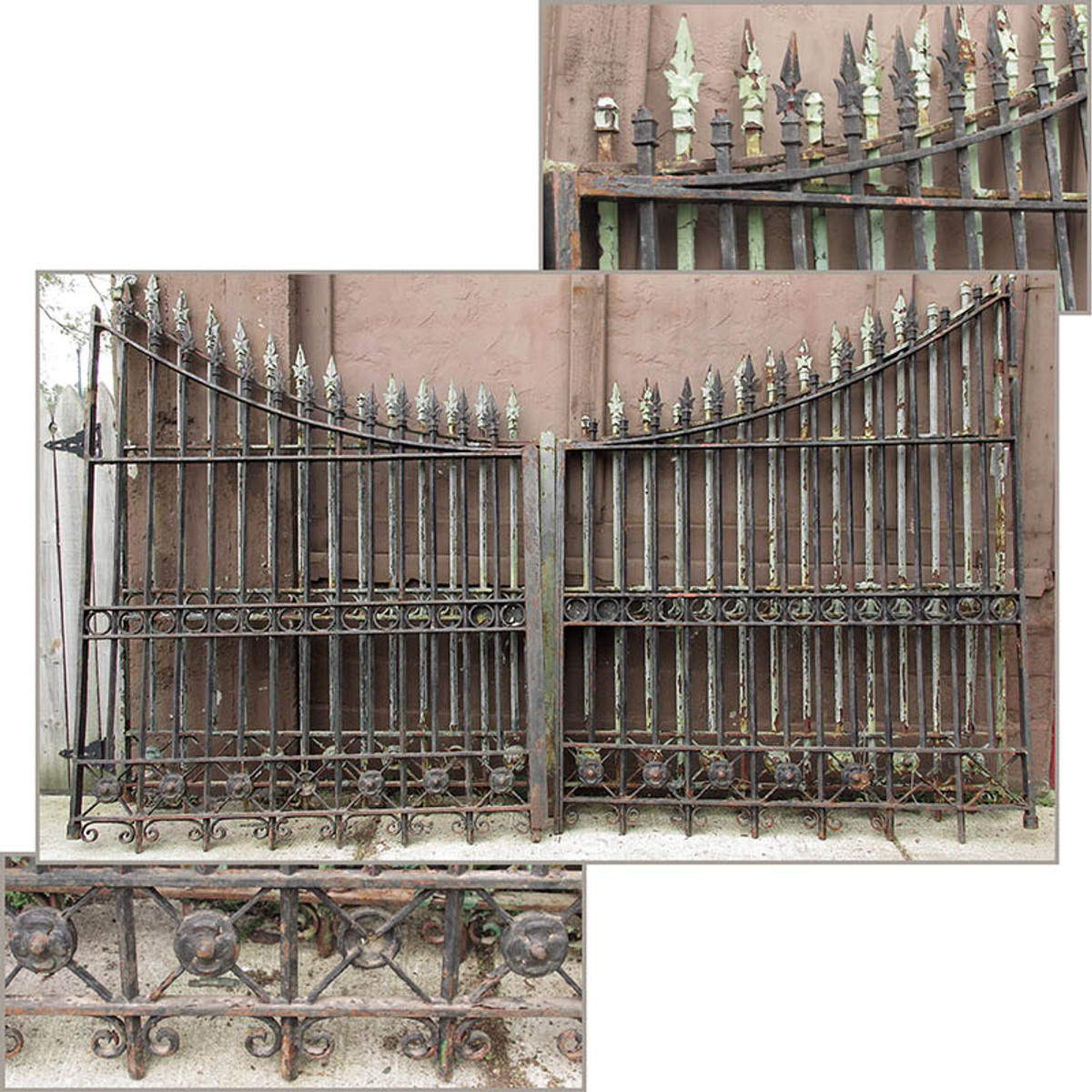 S15015 - Antique Gothic Revival Cast and Wrought Iron Driveway Double Gate