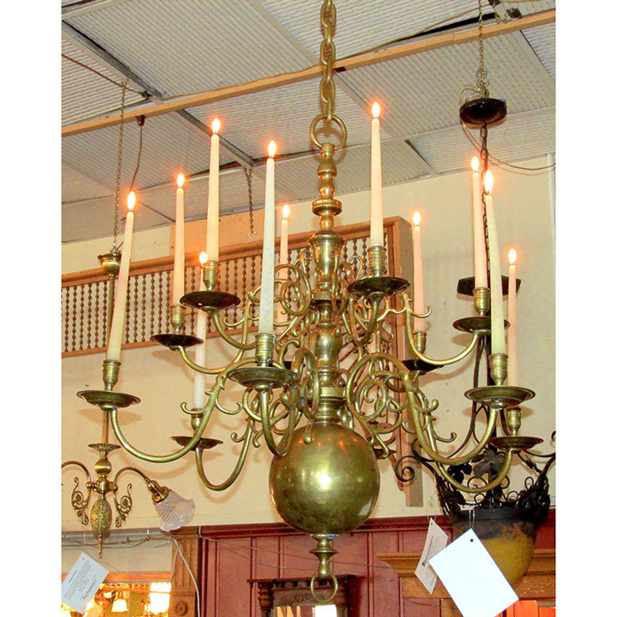 L16008 - Antique Georgian Style Twelve Arm Brass Chandelier