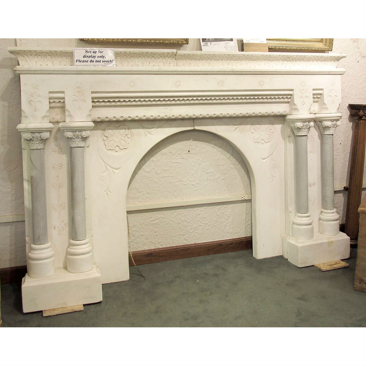 M16008 - Antique Elaborately Carved Marble Carrara Half Mantel