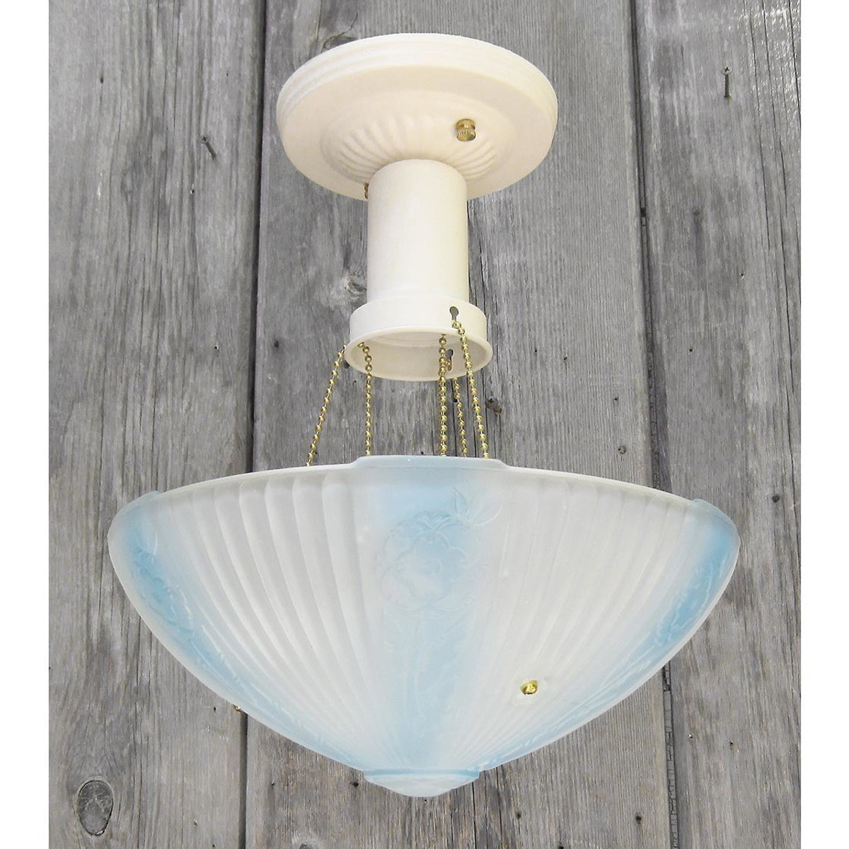 L16150 - Antique Art Moderne Ceiling Light Fixture with Bowl Shade