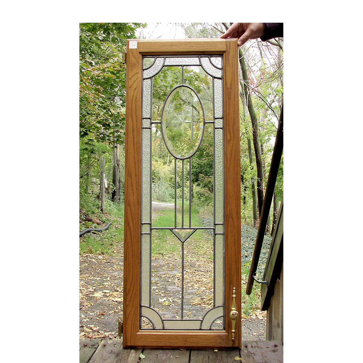- G16037 - Antique Colonial Revival Beveled Glass Cabinet Door
