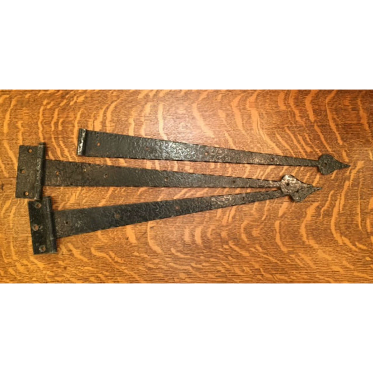 H16011B - Set of Three Antique Stanley Tudor Style Strap Hinges