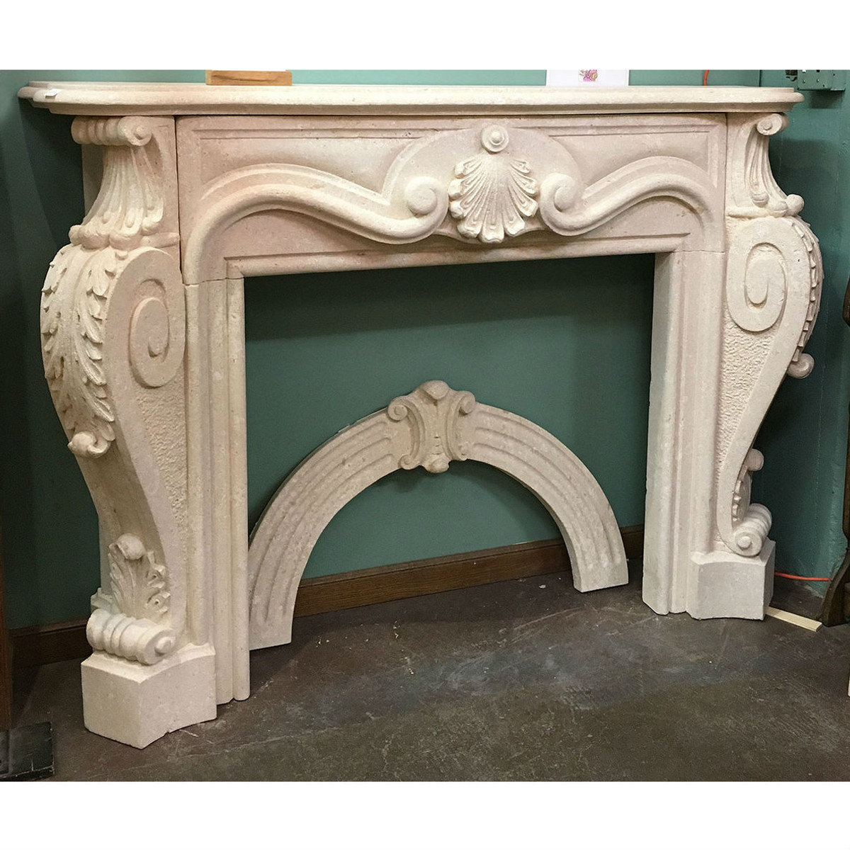 M17006 - Contemporary Cast Stone Fireplace Half Mantel