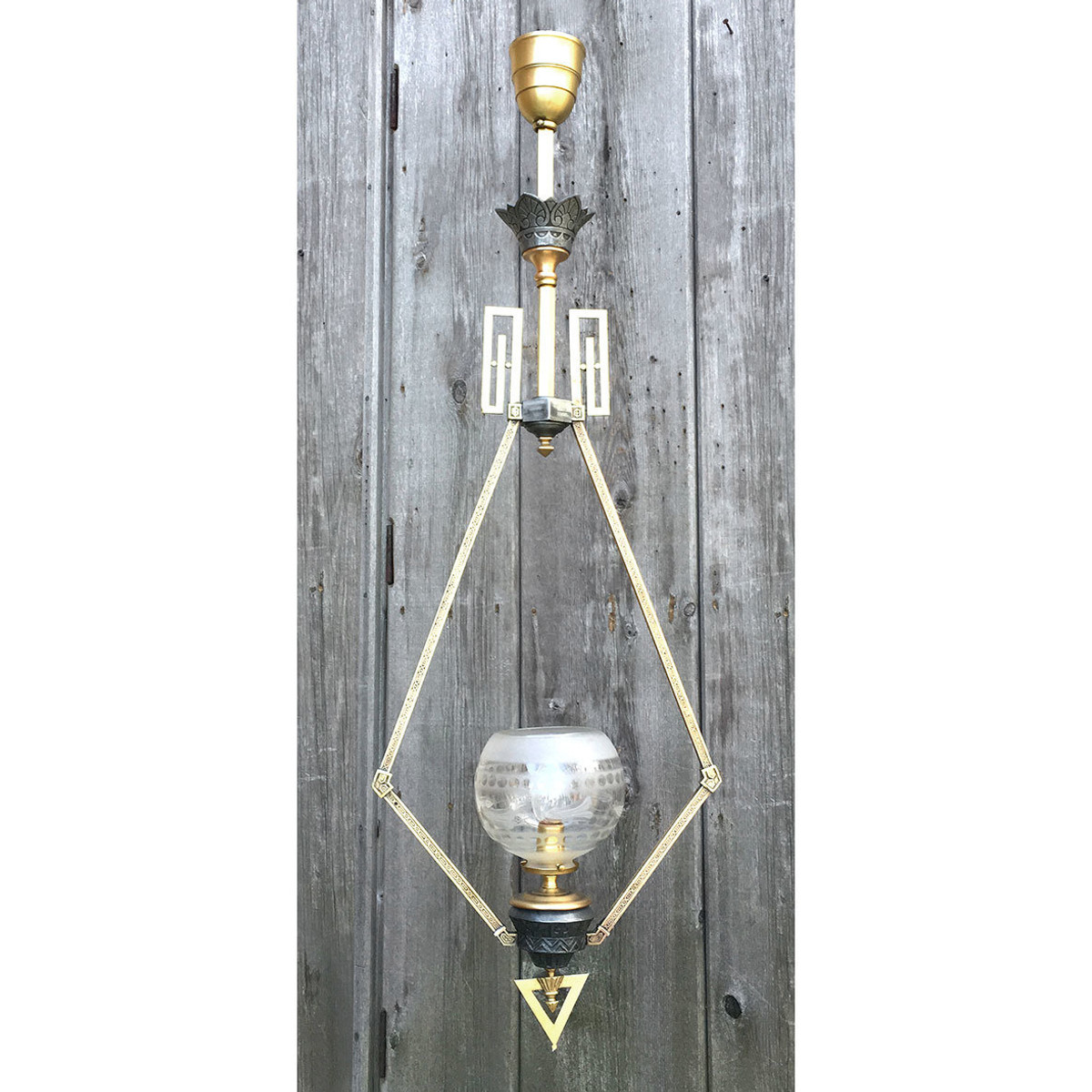 L17048 - Rare Antique Neo-Grec Victorian Gas Hall Fixture